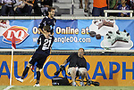 05 June 2012: Carolina's Mike Palacio (above) celebrates his game-tying goal with Brian Shriver (21). The Carolina RailHawks (NASL) lost 1-2 to Club Deportivo Chivas USA (MLS) at WakeMed Soccer Stadium in Cary, NC in a 2012 Lamar Hunt U.S. Open Cup fourth round game.
