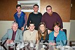 Terence Burke, Castleisland and Caitlín McIlroy, Knockmoyle, Tralee (seated 2nd and 3rd left) celebrated their engagement last Saturday evening in Darcy's restaurant, Tralee, also seated is Brian Caball (far lt) and Máire mhic Giollarua. Back l-r: Breandán agus Brian Óg Caball with Eoghan McIlroy.