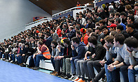 20200129 – Herentals , BELGIUM : spectators , fans and supporters pictured during a futsal indoor soccer game between Armenia and  the Belgian Futsal Devils of Belgium on the first matchday in group B of the UEFA Futsal Euro 2022 Qualifying or preliminary round , Wednesday 29 th January 2020 at the Sport Vlaanderen sports hall in Herentals , Belgium . PHOTO SPORTPIX.BE | DAVID CATRY