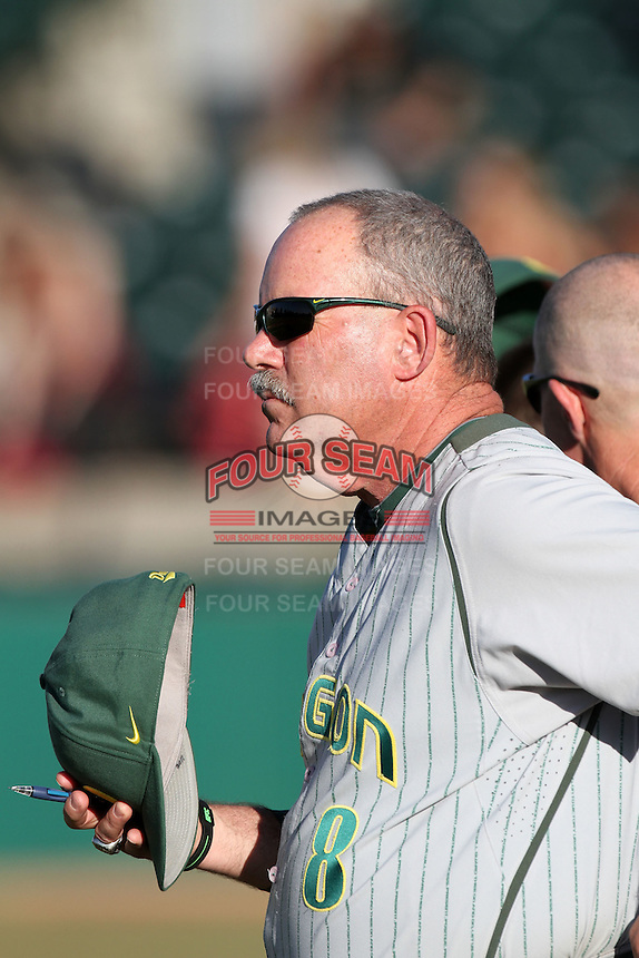 George Horton #8, head coach of the Oregon Ducks, before game against the USC Trojans at Dedeaux Field in Los Angeles,California on April 15, 2011. Photo by Larry Goren/Four Seam Images