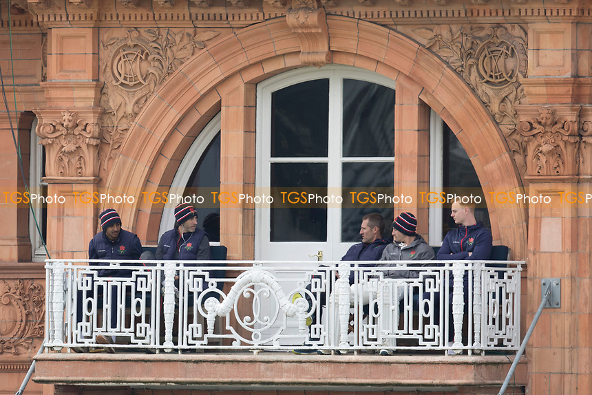 Haseeb Hameed of Lancashire CCC and Graham Onions of Lancashire CCC on the Lancashire Balcony during Middlesex CCC vs Lancashire CCC, Specsavers County Championship Division 2 Cricket at Lord's Cricket Ground on 13th April 2019