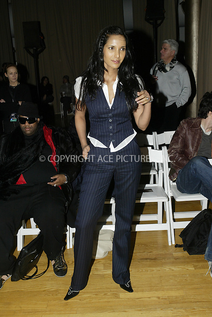 WWW.ACEPIXS.COM . . . . .  ....NEW YORK, FEBRUARY 11, 2005....Padma Lakshmi at the Costello Taglia Pietra Fall 2005 show held at the Altman Building.....Please byline: Ian Wingfield - ACE PICTURES..... *** ***..Ace Pictures, Inc:  ..Philip Vaughan (646) 769-0430..e-mail: info@acepixs.com..web: http://www.acepixs.com