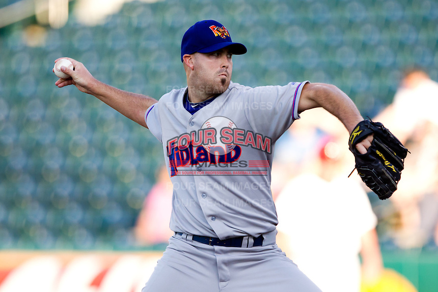 Jason Bergmann (16) of the Midland RockHounds delivers a pitch during a game against the Springfield Cardinals at Hammons Field on July 11, 2011 in Springfield, Missouri. (David Welker / Four Seam Images)