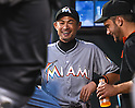 Ichiro Suzuki (Marlins),<br /> SEPTEMBER 14, 2015 - MLB :<br /> Ichiro Suzuki of the Miami Marlins laughs with his teammate in the dugout before the Major League Baseball game against the New York Mets at Citi Field in Flushing, New York, United States. (Photo by Hiroaki Yamaguchi/AFLO)