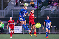 Allston, MA - Sunday, May 1, 2016:  Boston Breakers defender Rachel Wood (24) and Portland Thorns FC midfielder Lindsey Horan (7) in a match at Jordan Field, Harvard University.