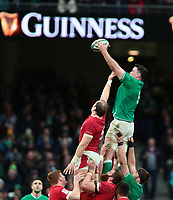 8th February 2020; Aviva Stadium, Dublin, Leinster, Ireland; International Six Nations Rugby, Ireland versus Wales; James Ryan (Ireland) gathers the lineout ball over Alun Wyn Jones (Captain Wales)