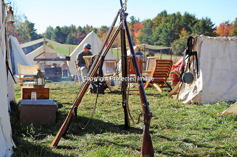 Civil War Reenactment Confederate Camp Rifle Stand