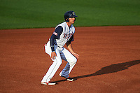Cedar Rapids Kernels outfielder Zack Larson (24) leads off first during a game against the Kane County Cougars on August 18, 2015 at Perfect Game Field in Cedar Rapids, Iowa.  Kane County defeated Cedar Rapids 1-0.  (Mike Janes/Four Seam Images)