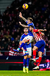 Inigo Martinez of Athletic de Bilbao (C) fights for the ball with Diego Costa of Atletico de Madrid during the La Liga 2018-19 match between Atletico de Madrid and Athletic de Bilbao at Wanda Metropolitano, on November 10 2018 in Madrid, Spain. Photo by Diego Gouto / Power Sport Images