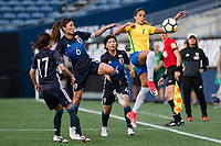 Seattle, WA - Thursday July 27, 2017:   Rumi Utsugi and Gabi Nunes during a 2017 Tournament of Nations match between the women's national teams of the Japan (JAP) and Brazil (BRA) at CenturyLink Field.