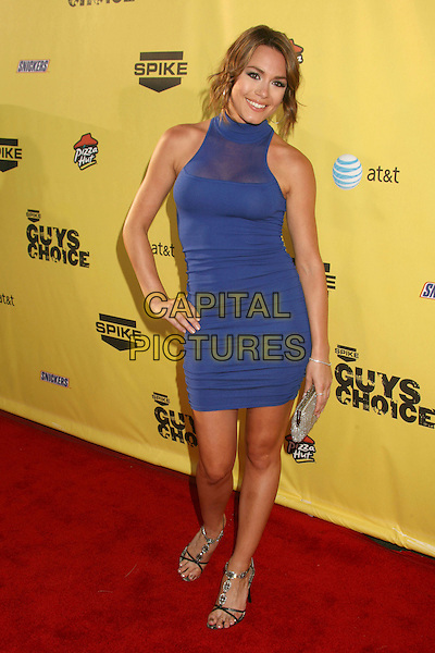 "RACHELLE LEAH.Spike TV's ""Guy Choice"" Awards - Arrivals at Radford Studios, Studio City, California, USA..June 9th, 2007.full length blue dress hand on hip halterneck sheer clutch purse silver clutch purse.CAP/ADM/BP.©Byron Purvis/AdMedia/Capital Pictures"