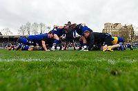 Bath Rugby forwards practise their scrum during the pre-match warm-up. Gallagher Premiership match, between Bath Rugby and Harlequins on March 2, 2019 at the Recreation Ground in Bath, England. Photo by: Patrick Khachfe / Onside Images