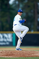 Burlington Royals relief pitcher Angel Zerpa (30) in action against the Danville Braves at Burlington Athletic Stadium on July 13, 2019 in Burlington, North Carolina. The Royals defeated the Braves 5-2. (Brian Westerholt/Four Seam Images)