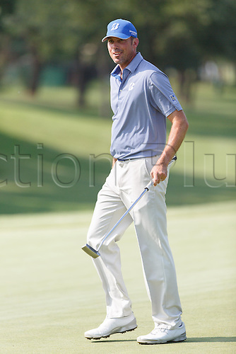 17.05.2013. Irving, Texas, USA.  Matt Kuchar smiles after sinking his putt on #16 during the second round of the HP Byron Nelson Championship played at the TPC Four Seasons Resort in Irving, TX.