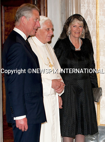 "PRINCE CHARLES and CAMILLA_Duchess of Cornwall.Visit the Vatican for a meeting with Pope Benedict XVI._Vatican City_27/04/2009.Mandatory Photo Credit: ©Dias/Newspix International..**ALL FEES PAYABLE TO: ""NEWSPIX INTERNATIONAL""**..PHOTO CREDIT MANDATORY!!: NEWSPIX INTERNATIONAL(Failure to credit will incur a surcharge of 100% of reproduction fees)..IMMEDIATE CONFIRMATION OF USAGE REQUIRED:.Newspix International, 31 Chinnery Hill, Bishop's Stortford, ENGLAND CM23 3PS.Tel:+441279 324672  ; Fax: +441279656877.Mobile:  0777568 1153.e-mail: info@newspixinternational.co.uk"