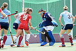 Mannheim, Germany, April 26: During the 1. Bundesliga Damen match between Mannheimer HC (red) and Uhlenhorster HC (light blue) on April 26, 2015 at Mannheimer HC in Mannheim, Germany. Final score 1-2 (0-2). (Photo by Dirk Markgraf / www.265-images.com) *** Local caption *** Jessica Kloevekorn #2 of Uhlenhorster HC, Nike Lorenz #16 of Mannheimer HC