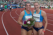 June 15th 2017, Bislett Stadion , Oslo, Norway; Diamond League Oslo Bislett Games;  L-R Pamela Dutkiewicz of Germany, Isabelle Pedersen of Norway winner of the  ladies 100 hurdles during the IAAF Diamond League held at the Bislett Stadium