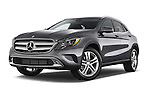Low Aggressive Front Three Quarter View of 2015 Mercedes Benz GLA-Class 250 5 Door SUV Stock Photo