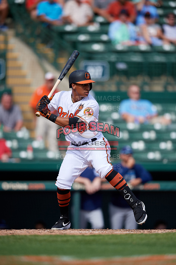 Baltimore Orioles pinch hitter Chris Bostick (68) at bat during a Grapefruit League Spring Training game against the Tampa Bay Rays on March 1, 2019 at Ed Smith Stadium in Sarasota, Florida.  Rays defeated the Orioles 10-5.  (Mike Janes/Four Seam Images)