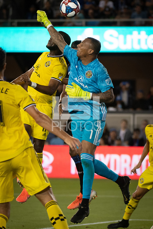 San Jose, CA - Saturday August 03, 2019: Eloy Loom #1 in a Major League Soccer (MLS) match between the San Jose Earthquakes and the Columbus Crew at Avaya Stadium.