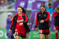 Orlando, FL - Sunday June 26, 2016: Hayley Raso, Mallory Weber  prior to a regular season National Women's Soccer League (NWSL) match between the Orlando Pride and the Portland Thorns FC at Camping World Stadium.