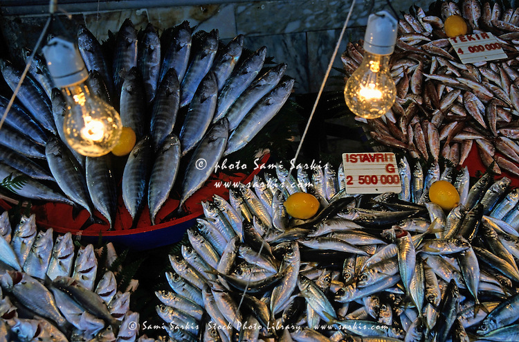 Fresh fish for sale at the Grand Bazaar, one of the largest and oldest covered markets in the world, Istanbul, Turkey.