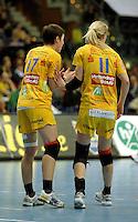 Handball Frauen / Damen  / women 1. Bundesliga - DHB - HC Leipzig : Frankfurter HC - im Bild: Anne Müller und Sara Eriksson (r.) . Foto: Norman Rembarz .