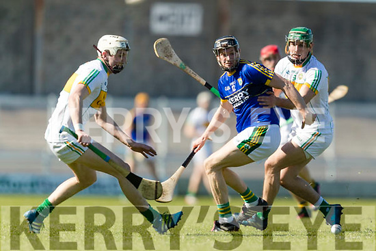 Colum Harty Kerry in action against David King Offaly in the National Hurling League in Austin Stack Park, Tralee on Sunday.