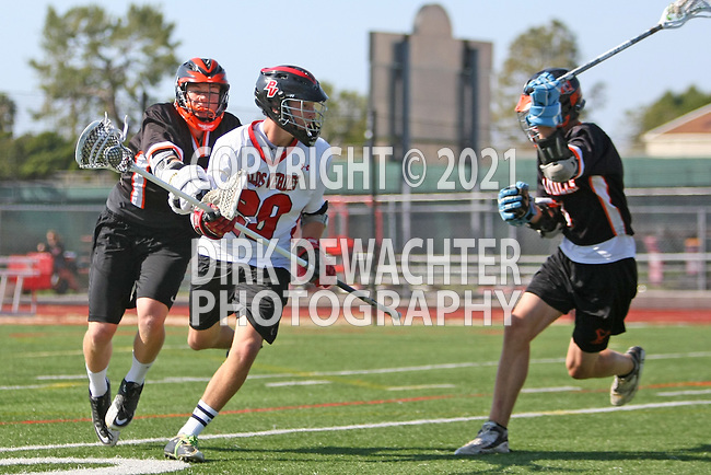 Palos Verdes, CA 04/27/12 - Ryan Brothers (Palos Verdes #29) and two unknown Beverly Hills player(s) in action during a regular season CIF Boys Lacrosse game between Palos Verdes and visiting Beverly Hills, Palos Verdes defeated the visitors 18-3.