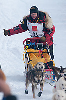 Mitch Seavey team leaves the start line during the restart day of Iditarod 2009 in Willow, Alaska