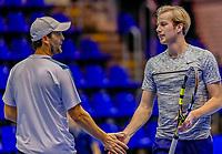 Rotterdam, Netherlands, December 13, 2017, Topsportcentrum, Ned. Loterij NK Tennis,  (NED) Men's doubles : Boy Westerhof (L) and Botic van de Zandschulp  (NED)<br /> Photo: Tennisimages/Henk Koster