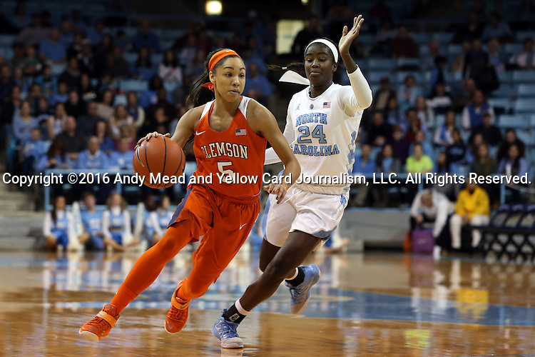 03 January 2016: Clemson's Danielle Edwards (5) and North Carolina's Destinee Walker (24). The University of North Carolina Tar Heels hosted the Clemson University Tigers at Carmichael Arena in Chapel Hill, North Carolina in a 2015-16 NCAA Division I Women's Basketball game. UNC won the game 72-56.