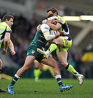 Lachlan McCaffrey of Leicester Tigers is tackled by Chris Cusiter of Sale Sharks. Aviva Premiership match, between Leicester Tigers and Sale Sharks on February 6, 2016 at Welford Road in Leicester, England. Photo by: Patrick Khachfe / JMP
