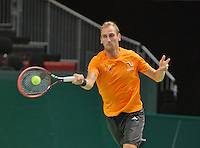 Swiss, Genève, September 14, 2015, Tennis,   Davis Cup, Swiss-Netherlands, practise Dutch team, Thiemo de Bakker<br /> Photo: Tennisimages/Henk Koster
