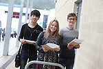 A Levels results day 2013<br /> Coleg Gwent Cross Keys College.<br /> Maths students Xing Yu, Louise Jones &amp; Jamie Thomas celebrate their A Level results.<br /> 15.08.13<br /> <br /> &copy;Steve Pope-Fotowales