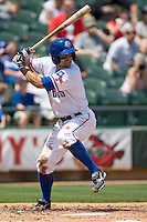 Round Rock Express 2B Matt Kata (15) at bat against the Iowa Cubs on April 10th, 2011 at Dell Diamond in Round Rock, Texas.  (Photo by Andrew Woolley / Four Seam Images)