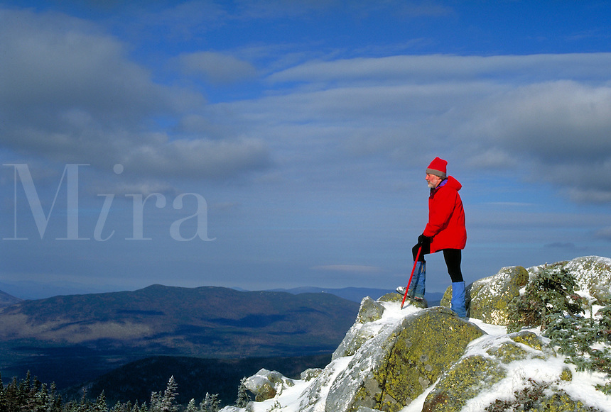 Mountaineer atop Mt. Jackson in New Hampshire's White Mountains in winter. Bill McDonald. White Mountains NH USA.
