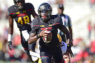 College Park, MD - OCT 15, 2016: Maryland Terrapins quarterback Tyrrell Pigrome (3) in action during game between Maryland and Minnesota at Capital One Field at Maryland Stadium in College Park, MD. (Photo by Phil Peters/Media Images International)
