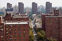 Densely packed apartment buildings in the Harlem neighborhood in New York seen on Saturday, October 6, 2012.  (© Richard B. Levine)