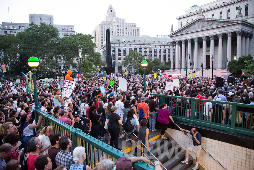 "NEW YORK, NY - JULY 12: Hundreds of people gather in Foley Square ower Manhattan for a ""Lights for Liberty"" protest against immigrant detention camps and the imminent Immigration raids by ICE on July 12, 2019. New York. (Photo by Pablo Monsalve/VIEWpress)"
