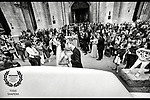 At St. Patrick's Cathedral, the bridal party, weddings guests and onlookers greet the wedding couple as they depart from their ceremony.