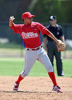 March 30, 2010:  Shortstop Freddy Galvis of the Philadelphia Phillies organization during Spring Training at the Carpenter Complex in Clearwater, FL.  Photo By Mike Janes/Four Seam Images