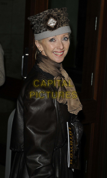 Debbie McGee.Hans Klok's 'The Houdini Experience' Press Night at the Peacock Theatre, London, England..February 28th 2012.half length black hat side brown leather jacket  .CAP/CAN.©Can Nguyen/Capital Pictures.
