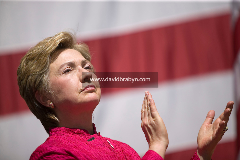 6 September 2005 - New York City, NY - Democratic Senator for New York Hillary Clinton attends a ceremony held at Ground Zero in New York, USA, 6 September 2005, to launch the construction of the new World Trade Center transportation hub. Four years ago, on 11 September 2001, terrorist attacks fully destroyed the twin towers of the World Trade Center killing some 2,600 people. Photo Credit: David Brabyn