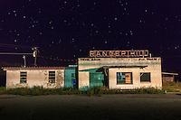 "Abandoned ""Ranger Hill"" truck stop diner at night in Ranger, TX"