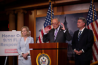 United States Senate Minority Leader Chuck Schumer (Democrat of New York), United States Senator Kirsten Gillibrand (Democrat of New York), and United States Senator Cory Gardner (Republican of Colorado) hold a press conference on Capitol Hill in Washington D.C., U.S. on July 17, 2019, calling for the passage of the 9/11 Victims Fund. <br /> Photo Credit: Stefani Reynolds/CNP/AdMedia