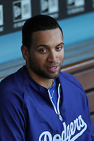 James Loney #7 of the Los Angeles Dodgers before game against the Chicago Cubs at Dodger Stadium in Los Angeles, California on May 3, 2011. Photo by Larry Goren/Four Seam Images