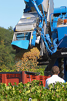 Machine harvest. Despagne Vineyards and Chateaux, Bordeaux, France