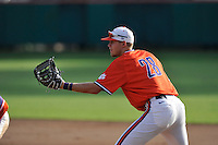 First baseman Seth Beer (28) of the Clemson Tigers plays defense during a Purple-Orange fall scrimmage on Sunday, October 2, 2016, at Doug Kingsmore Stadium in Clemson, South Carolina. (Tom Priddy/Four Seam Images)