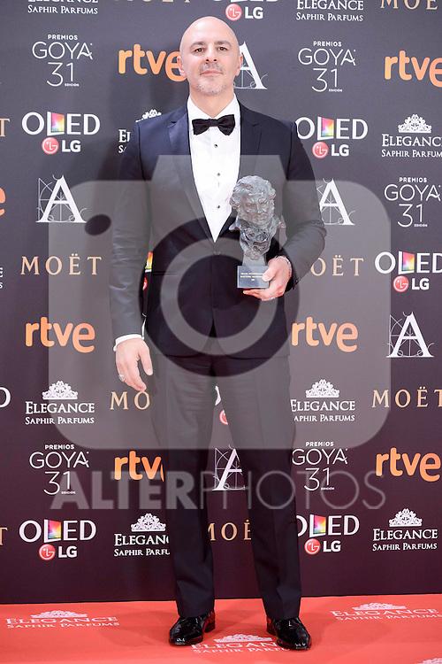 Roberto Alamo pose to the media with the Goya award at Madrid Marriott Auditorium Hotel in Madrid, Spain. February 04, 2017. (ALTERPHOTOS/BorjaB.Hojas)